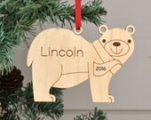 Wooden Bear Personalized Ornament Baby's First Christmas Kids