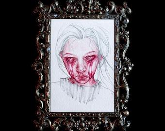 Original 4x6 Post Card Crimson Magenta Watercolor Oil Colored Pencil Study 1