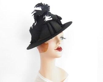 1940s tilt hat, black vintage 40s percher