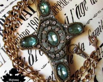 Madonna Enchanted necklace large statement jeweled cross metallic trim rhinestone goth gothic statement necklace