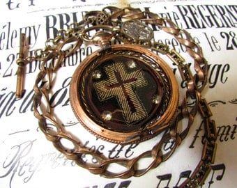 Madonna Enchanted antique religious necklace metallic velvet embroidered cross Victorian pocket watch case reliquary one of a kind jewelry
