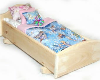 Rock Her to Sleep!  Single Doll Bed - Sparkling Faries American Made Girl Doll Bed Fits AG Doll and 18inch doll BittyBaby 18' Doll Furniture