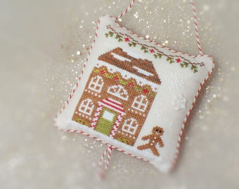 Gingerbread Snowflake House - Completed Cross Stitch Christmas Ornament