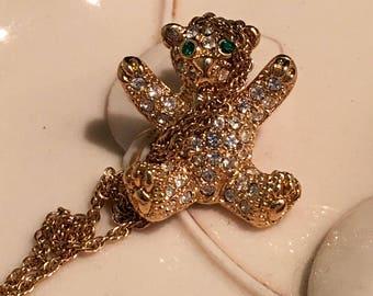 Pave gold tone Bear necklace