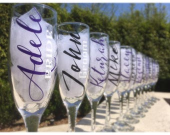 Set of 12, Personalized wedding champagne glasses, Personalized toasting flutes, personalized champagne glasses, bridesmaid champagne glasse