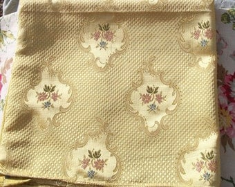 Vintage French Fabric Buttercup Yellow Gold Woven Silk Golden Text Satin Material Woven Lisere Silks Textile