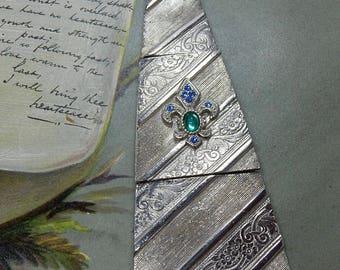 Vintage Articulated JJ Signed Silver Necktie Brooch    OAT6