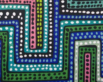 Blue Green Color Dubaku Dots fabric per yard by Alexander Henry/ Tribal Print African Inspired Fabric for Making Clothing, Decorate