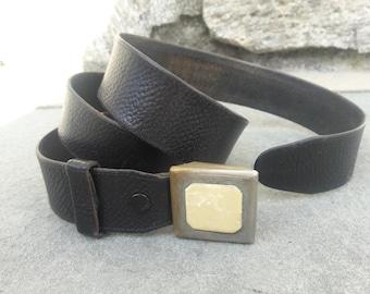 1920s secret compartment metal and celluloid buckle + brown leather belt vintage haberdashery 1920s belt 20s belt hidden compartment