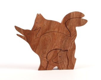 Wood Fox Figurines, Three Piece Fox Woodland Decoration, Wooden Forest Animal Home Accent, Cherry