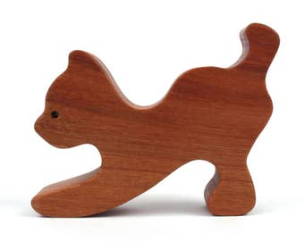 Simple Wooden Cat Toy Waldorf Wood Farm Animal Toys  Cat Decoration Wood Cat Figurine Cherry
