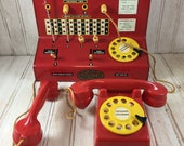 Rare Vintage Codeg 1950's Tinplate Toy Town Telephone Exchange in Original Box