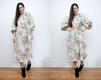FREE SHIPPING Vintage Floral Cotton Frill Balloon Sleeve Poet Sleeve Hippie Boho Smock Maxi Dress 70's