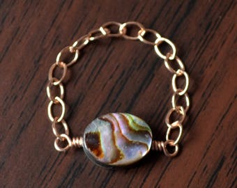 Abalone Ring, Rose Gold, Chain Ring, Dainty and Delicate, Pink, Simple Paua Shell Jewelry, Size 7, Free Shipping