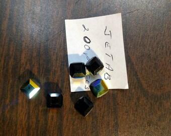 8mm Swarovski Crystal Cube Jet AB