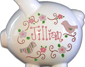 Personalized Piggy Bank with Lovebirds Design | White | Pink | Large | Baby Gift | Free Shipping
