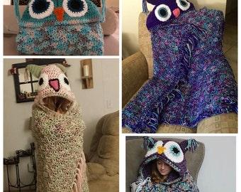Hooded Owl Blanket, Crochet Owl Blanket, Child or Adult Hooded Owl Blanket