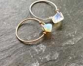 Simple Opalite Ring - gold tone brass / silver plated brass / sterling silver options available