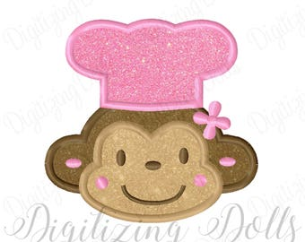 Girly Girl Monkey Chef Applique Machine Embroidery Design Digital File 4x4 5x7 6x10 Cook Chef Hat INSTANT DOWNLOAD