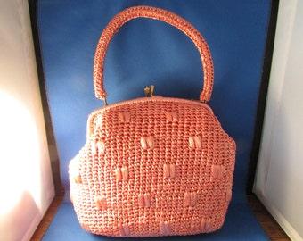 Plastic Weaved Pink Handbag