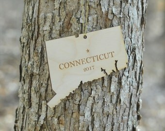 Natural Wood Connecticut State Ornament WITH 2017