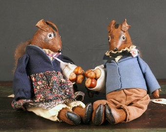 Vintage Boy and Girl Squirrel, Judy Wachlin