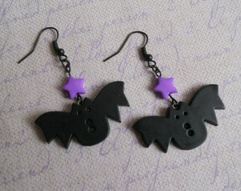 bats and stars Earrings pastel goth Lolita fairy kei