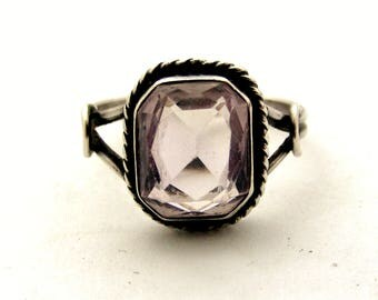 Vintage art deco sterling silver pale amethyst ring