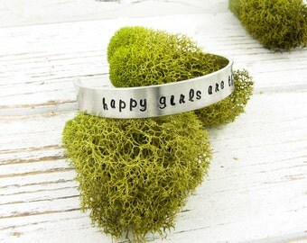 Inspirational Silver Jewelry. Happy Girls Are the Prettiest. Bracelet with Saying. Stamped Cuff for Motivation and Encouragement. 004INS