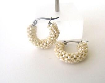Beaded beige hoop earrings | woven beaded beige earrings  | beige glass earrings | small hoops beaded beige jewelry