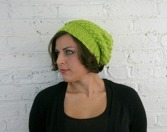 Slouch Hat - Bright Green Textured Slouch Beanie - Baggy Hat