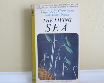 1964 The Living Sea by Capt. J. Y. Cousteau  Paperback Edition