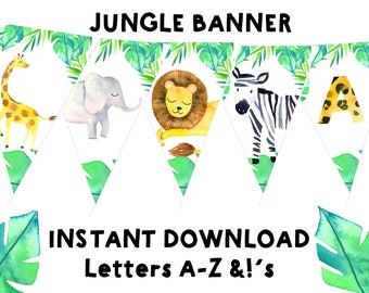 JUNGLE BANNER Jungle birthday banner Jungle baby shower banner Elephant Lion Giraffe Zebra Banner - Printable Safari Banner Wild animal