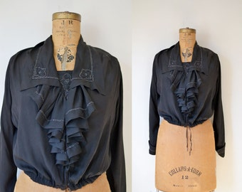 Edwardian Black Silk Blouse /1910s 1920s blouse