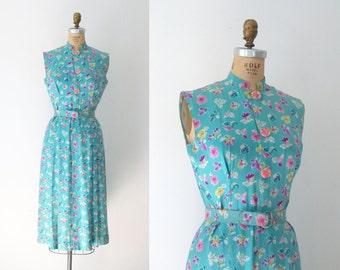 1930s Novelty Print Dress / 30s Silk Day Dress