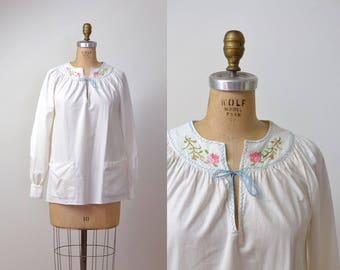 1970s Peasant Top / 70s Indian Cotton Smock Top