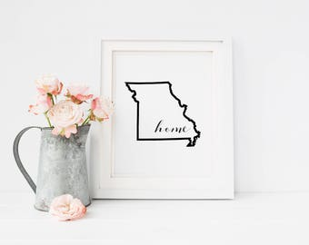 Missouri State Outline, Wall Art Print, 8x10 PRINT ONLY, Home Decor, Frame-able Art Print, Map Art, Missouri Map, State Art, State Prints