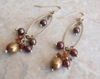 Pearl Dangle Earrings Sterling Silver Gold Plum Amber French Wires Vintage E0084