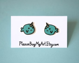 Sad Narwhal Hand Drawn Stud Earrings
