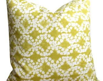 Chartreuse Pillow Cover, Batik Pillow Cover, Sofa Pillow, Throw Pillow, Decorative Pillow, 16x16 Cushion Cover - Tie-dye Circles Chartreuse