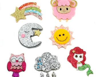 Glitter Felt Appliques NEW 2017 - Felt Applique, Feltie, Felties, Summer Felties, Wholesale Felties, Felt Accessories, Felt Hair, Feltie