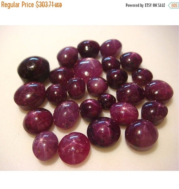 60% HOLIDAY SALE Wholesale Star Ruby Cabachon Lot - Oval Star Ruby Cabachons - 8x10mm To 5x7mm - 35 CTW - 6 Pieces Approx