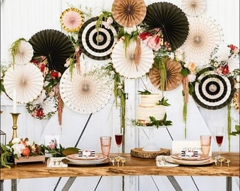Boho Chic, Paper Fans Backdrop, Gold Glitter, Florals And Stripes, Wedding Hanging Decorations, Bridal Shower Dessert Table Idea, Set Of 8
