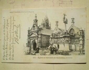Bretagne - Early 1900s - Antique French Postcard - Eglise et Calvaire de Guimiliau