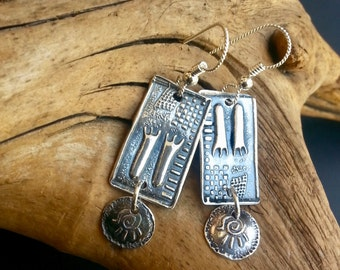 Fine Silver Dangles - The Primitive Wanderer - PMC Dangles - Footprint Earrings
