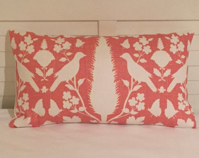 Schumacher Chenonceau in Coral Designer Pillow Cover, Lumbar 14x24