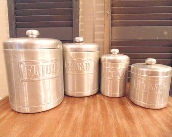 Vintage Set of Aluminum Kitchen Canisters, Heller Hostess Ware