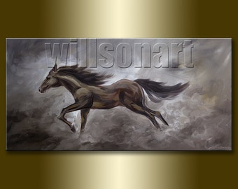 Original Horse Oil Painting Textured Palette Knife Modern Animal Art 20X40 by Willson Lau