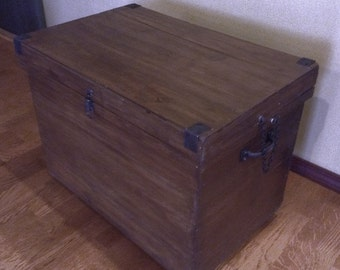 Beautiful Battered Rustic Handmade Wooden Trunk Coffee Table on Wheels