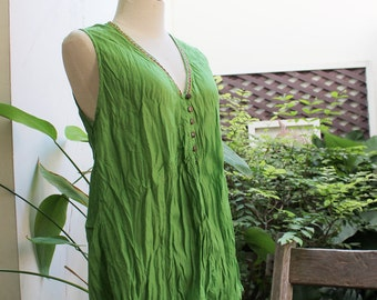 Comfy Roomy V Sleeveless Top - Apple Green
